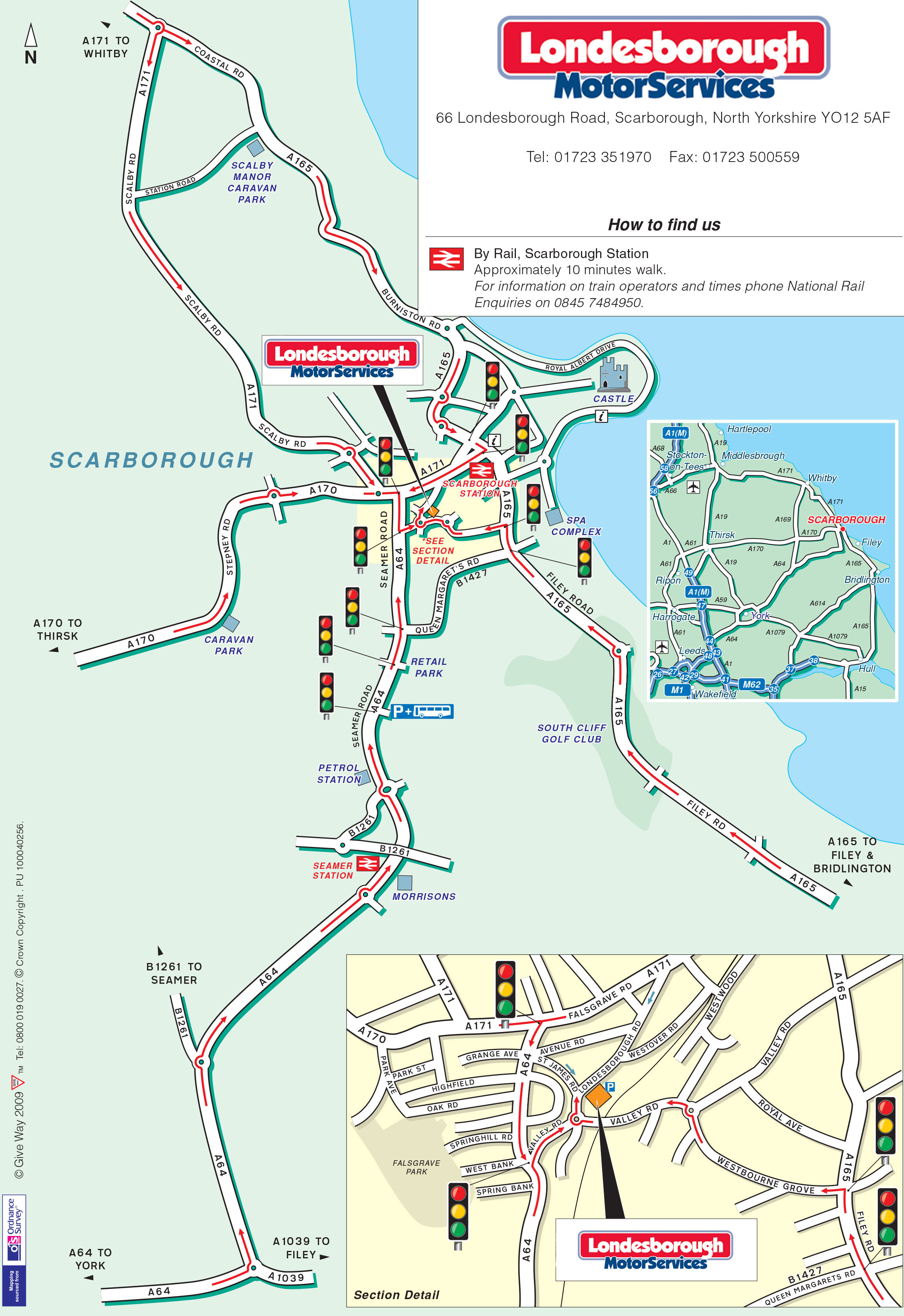 Londesborough Motor Services Map of Scarborough